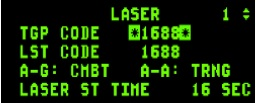 DED page showing laser codes
